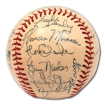 1973 NEW YORK YANKEES TEAM SIGNED OAL (CRONIN) BASEBALL WITH STRIKING MUNSON (PSA/DNA NM-MT+ 8.5)