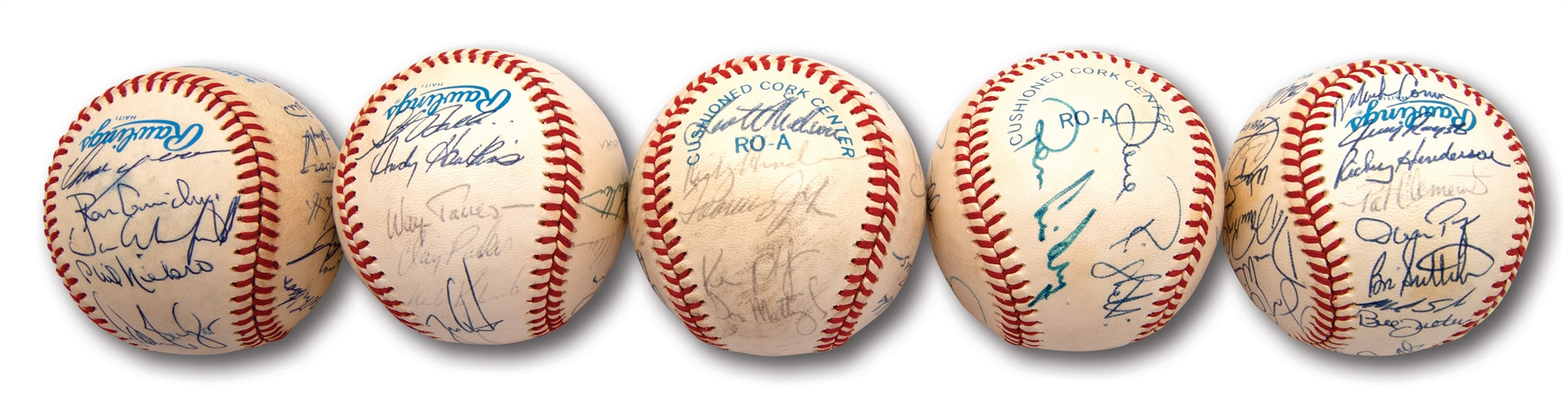 1985-1989 NEW YORK YANKEES TEAM SIGNED OAL (BROWN) BASEBALLS LOT OF (5) - ALL W/ PSA/DNA LOAS