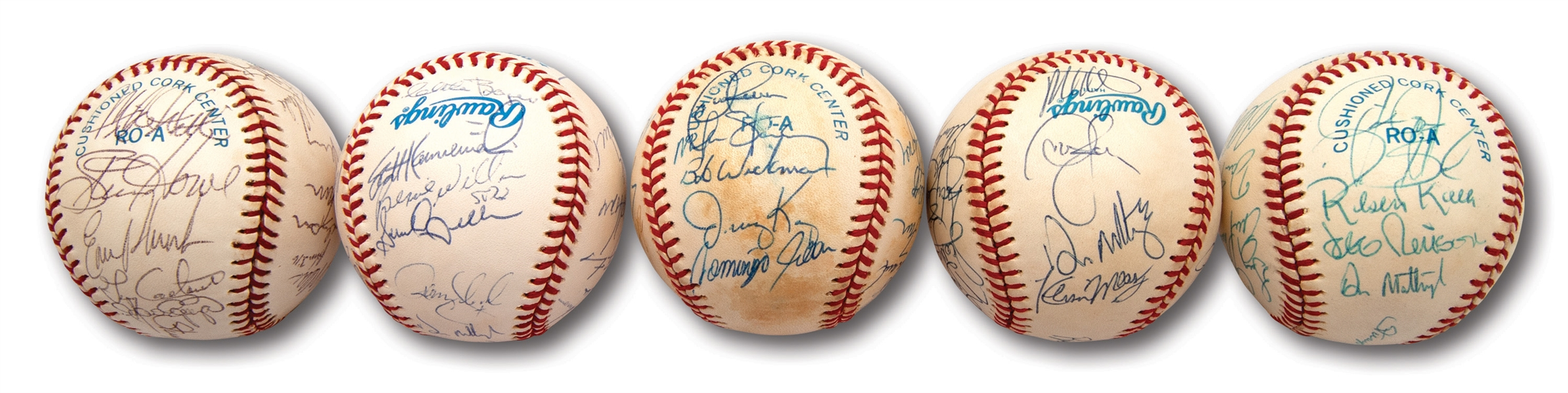 1990-1994 NEW YORK YANKEES TEAM SIGNED OAL (BROWN) BASEBALLS LOT OF (5) - ALL W/ PSA/DNA LOAS