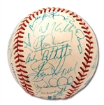 1995 NEW YORK YANKEES TEAM SIGNED BASEBALL WITH ROOKIE DEREK JETER