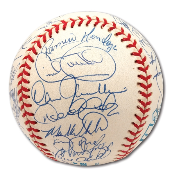 1997 NEW YORK YANKEES TEAM SIGNED OAL (BUDIG) JACKIE ROBINSON 50TH ANNIVERSARY BASEBALL - PSA/DNA MINT 9 OVERALL
