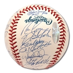 2002 NEW YORK YANKEES TEAM SIGNED OML BASEBALL