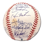 2009 NEW YORK YANKEES WORLD CHAMPIONS TEAM SIGNED OML BASEBALL (STEINER COA)