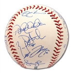 2012 NEW YORK YANKEES TEAM SIGNED OML BASEBALL (STEINER COA)