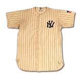 "1942 GEORGE SELKIRK NEW YORK YANKEES GAME WORN HOME JERSEY (RUTH'S RETIRED NUMBER 3) WITH HEALTH PATCH (SGC/GROB LOA, GRADED ""VG"")"