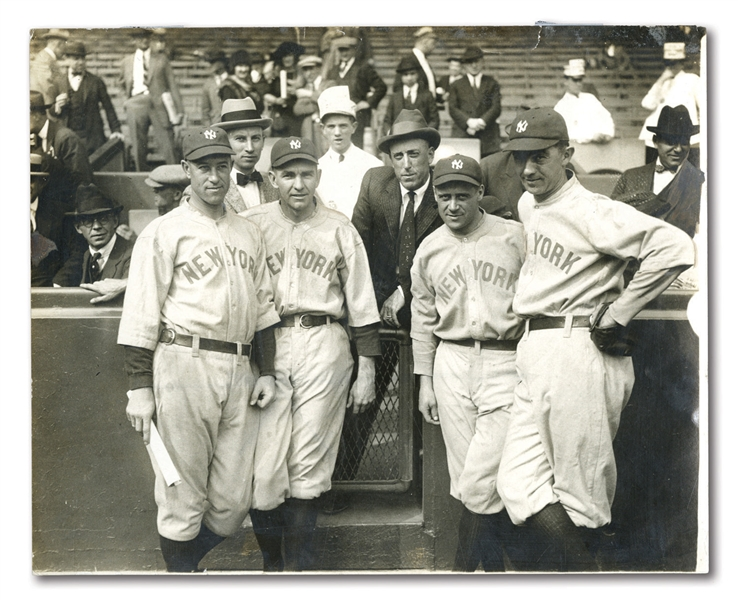 "1922 ""FORMER MEMBERS OF THE ATHLETICS"" PHOTOGRAPH FEAT. YANKEES BUSH, SHAWKEY, SCHANG & BAKER WITH EDDIE PLANK AT SHIBE PARK"