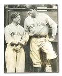 "SEPTEMBER 7, 1925 ""RUTH AND HUGGINS ARE FRIENDS ONCE MORE"" ORIGINAL WIRE PHOTOGRAPH (BABE RUTHS FIRST GAME BACK FROM SUSPENSION)"