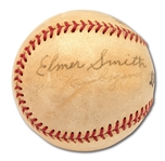 ELMER SMITH AUTOGRAPHED BASEBALL (1923 YANKEES PLAYER) ALSO SIGNED BY BILL WAMBSGANSS