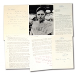 WAITE HOYT CAREER RETROSPECTIVE TRIO OF LETTERS WITH SUPERB CONTENT (RUTH, 1927 YANKEES, CAREER HIGHLIGHTS, ETC.) PLUS SIGNED PHOTO (LOT OF 4)
