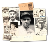 1927 NEW YORK YANKEES PLAYERS AUTOGRAPH LOT OF (14) INCL. CARDS, INDEX CARDS AND PHOTOS