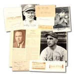SCARCE EARLY NEW YORK YANKEES PLAYERS AUTOGRAPH LOT OF (13) INCL. CUTS, INDEX CARDS, PHOTOS, ETC.
