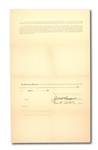"1920 FRANK ""PING"" BODIE SIGNED NEW YORK YANKEES UNIFORM PLAYERS CONTRACT ALSO SIGNED BY JACOB RUPPERT AND BAN JOHNSON"
