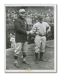 1923 YANKEE STADIUM OPENING DAY MANAGERS FRANK CHANCE AND MILLER HUGGINS INTERNATIONAL NEWS SERVICE PHOTOGRAPH