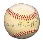 EARLY 1950S CLARK GRIFFITH SINGLE SIGNED BASEBALL (HIGH-GRADE AUTO.)