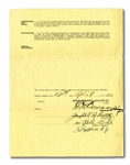 1933-35 JOE McCARTHY NEW YORK YANKEES MANAGERIAL CONTRACT SIGNED BY McCARTHY, JACOB RUPPERT, ED BARROW AND WILLIAM HARRIDGE