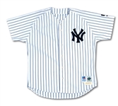 1999 ROGER CLEMENS NEW YORK YANKEES GAME WORN HOME JERSEY WITH DiMAGGIO MEMORIAL SLEEVE PATCH