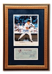 4/15/1984 DON MATTINGLY ENDORSED NEW YORK YANKEES ROOKIE PAYROLL CHECK FRAMED WITH SIGNED PHOTO