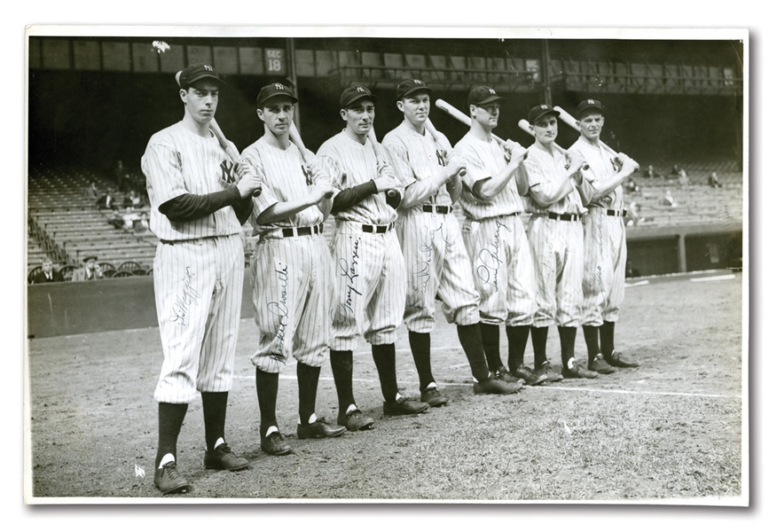 "1936 NEW YORK YANKEES SIGNED LARGE FORMAT (16"" BY 10"") PHOTOGRAPH INCL. ROOKIE JOE DiMAGGIO AND LOU GEHRIG"