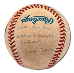 "1999 WORLD SERIES GAME 1 LAST OUT BALL PITCHED BY MARIANO RIVERA (1999 WS MVP) WHO RECORDED THE SAVE – SIGNED & INSCRIBED ""GAME USED BALL 1999 WS GAME #1 LAST OUT"" (STEINER)"