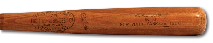 BOB GRIM 1956 WORLD SERIES H&B PROFESSIONAL MODEL GAME ISSUED BAT WITH 7 AUTOGRAPHS (PSA/DNA GU 5)