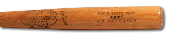 JOHNNY KUCKS AUTOGRAPHED 1957 WORLD SERIES HILLERICH & BRADSBY PROFESSIONAL MODEL GAME ISSUED BAT