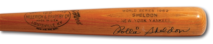 ROLLIE SHELDON AUTOGRAPHED 1962 WORLD SERIES HILLERICH & BRADSBY PROFESSIONAL MODEL GAME ISSUED BAT
