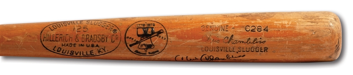 CHRIS CHAMBLISS SIGNED & INSCRIBED 1976 ALCS GAME USED LOUISVILLE SLUGGER PRO MODEL BAT (PSA/DNA GU 7.5)