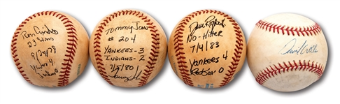 HISTORIC LOT OF (4) AUTOGRAPHED & INSCRIBED GAME USED BALLS FROM SIGNIFICANT YANKEES PITCHING ACHIEVEMENTS INCL. WELLS (PG), RIGHETTI (NH) & GUIDRY (SO)