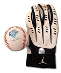 DEREK JETER AUTOGRAPHED GAME USED BATTING GLOVE AND SINGLE SIGNED 1999 WORLD SERIES BASEBALL