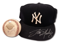 TINO MARTINEZ AUTOGRAPHED LATE 1990S N.Y. YANKEES GAME USED CAP AND 2001 WORLD SERIES GAME 4 USED & SIGNED BASEBALL (MLB AUTH.)