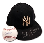 ANDY PETTITTE AUTOGRAPHED 1995-96 NEW YORK YANKEES (ROOKIE ERA) GAME USED CAP AND SINGLE SIGNED BASEBALL COMMEMORATING HIS LAST WIN AT OLD YANKEE STADIUM