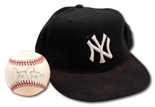LATE 1990S DAVID CONE AUTOGRAPHED NEW YORK YANKEES GAME USED CAP AND SINGLE SIGNED BASEBALL