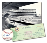 GEORGE STEINBRENNER ENDORSED 1975 NEW YORK YANKEES PAYROLL CHECK WITH 1975 PHOTOGRAPH BY LOUIS REQUENA AND SINGLE SIGNED BASEBALL (LOT OF 3)