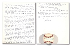 JOE SEWELL SIGNED HANDWRITTEN TWO-PAGE LETTER REGARDING BABE RUTHS CALLED SHOT HOME RUN AND SINGLE SIGNED BASEBALL WITH CALLED SHOT NOTATION