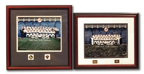1999 AND 2000 WORLD CHAMPION NEW YORK YANKEES TEAM SIGNED PHOTO DISPLAYS WITH WORLD SERIES PRESS PINS