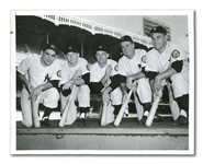 "SEPTEMBER 22, 1952 ""YANKEES TIMBER"" UNITED PRESS WIRE PHOTOGRAPH FEAT. BERRA, MANTLE, COLLINS, BAUER AND WOODLING"