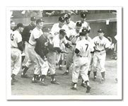 MICKEY MANTLE 1953 WORLD SERIES GAME 4 (EBBETS FIELD) GRAND SLAM AP WIRE PHOTOGRAPH
