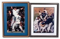 1996 AND 1998 WORLD CHAMPION NEW YORK YANKEES TEAM SIGNED CELEBRATION PHOTOS