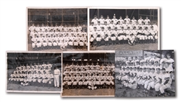 1938, 1941, 1942 (2) AND 1948 NEW YORK YANKEES ORIGINAL TEAM NEWS SERVICE PHOTOGRAPHS (LOT OF 5)