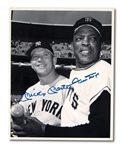 MICKEY MANTLE AND WILLIE MAYS DUAL-SIGNED 1960S AP/WIDE WORLD NEWS SERVICE PHOTOGRAPH