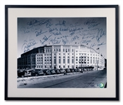 "2008 NEW YORK YANKEES TEAM SIGNED 16"" BY 20"" FRAMED PHOTO OF YANKEE STADIUM FACADE (STEINER, MLB AUTH.)"