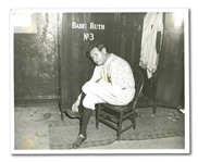 JUNE 13, 1948 BABE RUTH DAY ORIGINAL PHOTO – RUTH REMOVES HIS YANKEE PINSTRIPES FOR THE LAST TIME ON DAY YANKEES RETIRE HIS #3 (FROM RUTH'S PERSONAL PHOTO ALBUM)