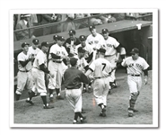 MICKEY MANTLE 1952 WORLD SERIES GAME 7 (EBBETS FIELD) HOME RUN UNITED PRESS PHOTOGRAPH