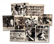 "LOT OF (9) MICKEY MANTLE 1960S ORIGINAL NEWS SERVICE ""ACTION SHOT"" PHOTOGRAPHS"