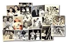 LOT OF (16) AUTOGRAPHED NEW YORK YANKEES VINTAGE PHOTOGRAPHS – MOSTLY NEWS SERVICE PHOTOS