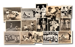 LOT OF (15) 1930S-40S NEW YORK YANKEES ACTION AND CANDID NEWS SERVICE PHOTOGRAPHS