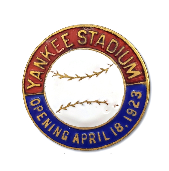 APRIL 18, 1923 YANKEE STADIUM OPENING DAY PRESS PIN (SCARCE)