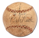 C. 1928-31 BABE RUTH AUTOGRAPHED BARNSTORMING BASEBALL ALSO SIGNED BY CHRISTY WALSH AND WILL ROGERS