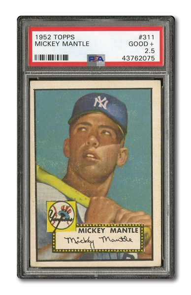 1952 TOPPS #311 MICKEY MANTLE PSA GD+ 2.5