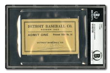 1923 TY COBB AUTOGRAPHED DETROIT TIGERS SEASON PASS - BECKETT AUTHENTIC